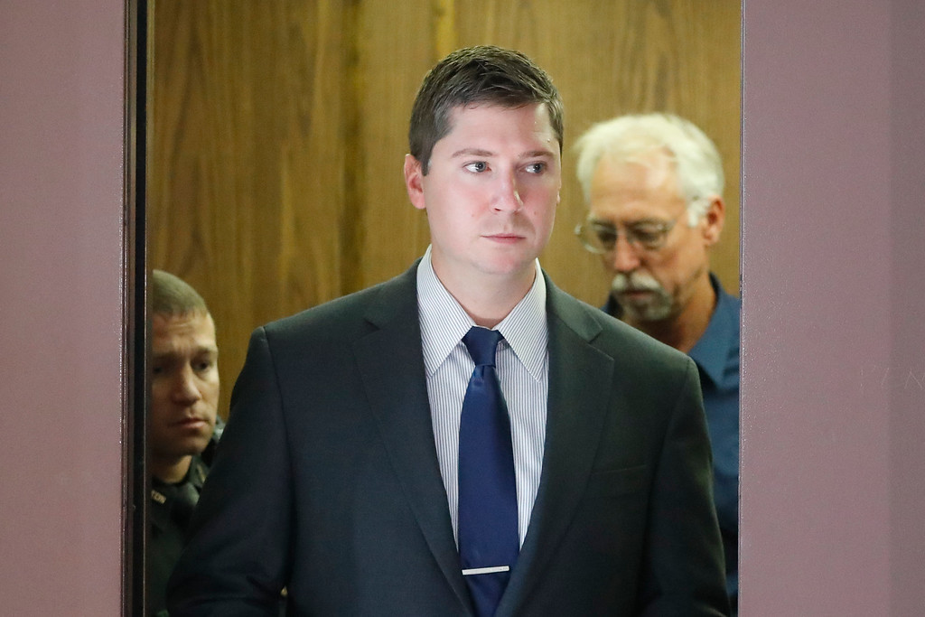 . Ray Tensing arrives at court on the fourth day of jury deliberations in his murder trial, Saturday, Nov. 12, 2016, in Cincinnati.   Judge Megan Shanahan has declared a mistrial, after the jury said it was deadlocked in the case.   Tensing, the former University of Cincinnati police officer is charged with murdering Sam DuBose while on duty during a routine traffic stop on July 19, 2015. (AP Photo/John Minchillo)