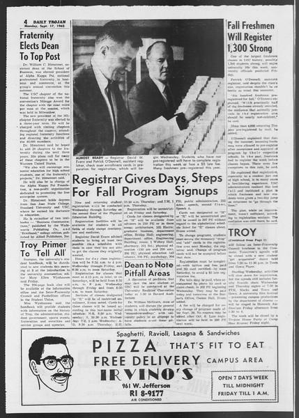 Daily Trojan, Vol. 54, No. 1, September 17, 1962