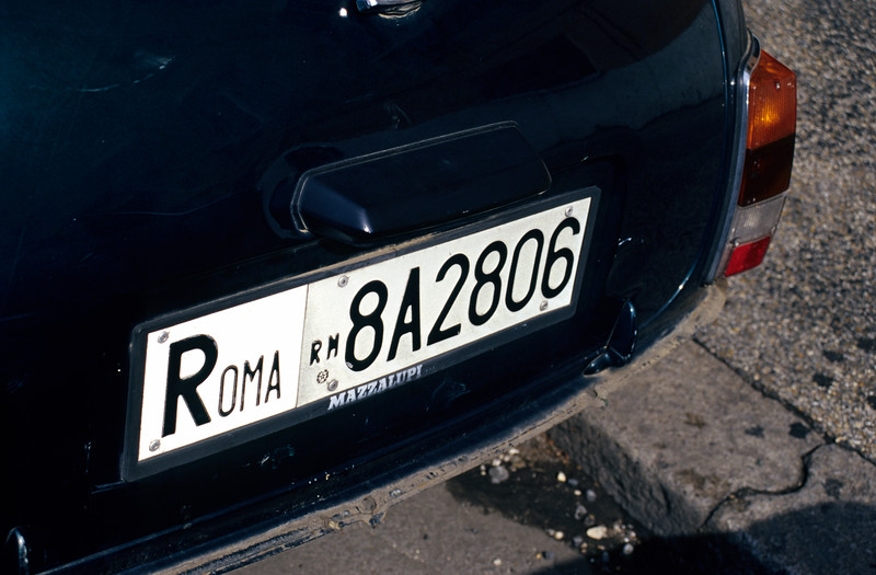 Rome Licence Plate, Italy