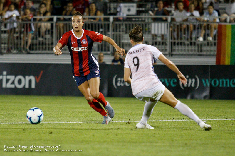 Washington Spirit forward Mallory Pugh (11) and Houston Dash midfielder Haley Hanson (9) at Maureen Hendricks Field in Boyds, MD, on July 20, 2019.