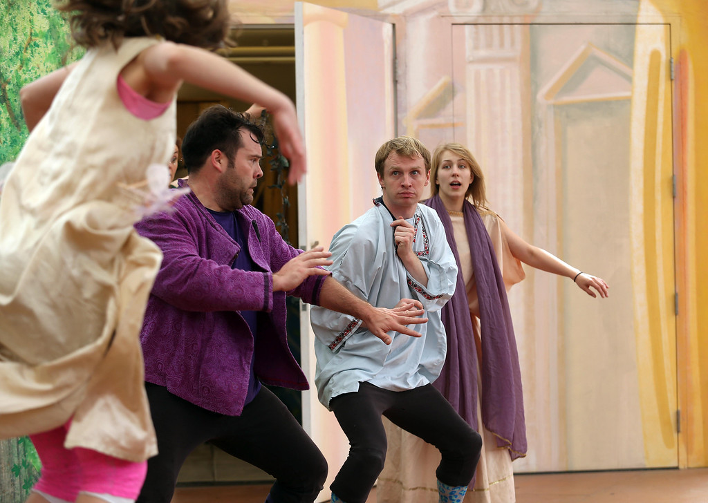 ". Steven Westdahl, Brandon Mears and Amber Sommerfeld, left to right, perform in San Francisco Shakespeare\'s ""A Midsummer Night\'s Dream\"" on the Aesop\'s Playhouse stage at Children\'s Fairyland in Oakland, Calif., on Friday, March 15, 2013. (Jane Tyska/Staff)"