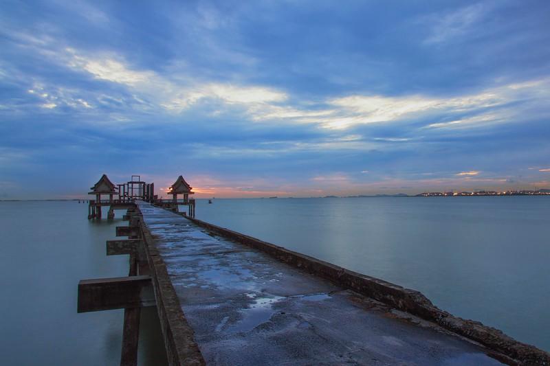 abandoned pier temple, chonburi, thailand