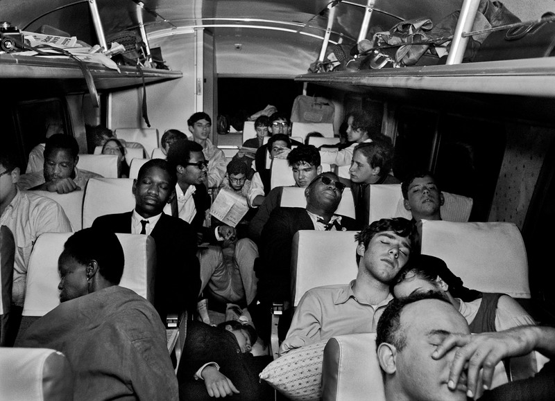 City College of New York (CCNY) students sleeping ovenight the on bus to outside of Montgomery, Alabama to meet up with 1965 Selma to Montgomery, Alabama civil rights march. March 24, 1965