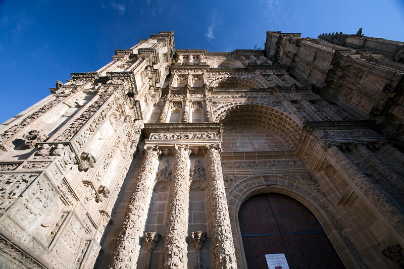 Plateresque facade of the New Cathedral, town of Plasencia, province of Caceres, autonomous community of Extremadura, western Spain