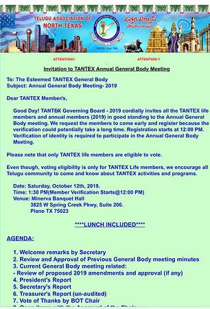 TANTEX-Annual GeneralBody Meeting 2019-12thOctober2019