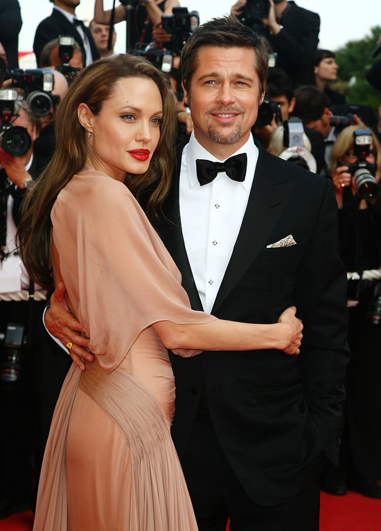 . Actors Brad Pitt and Angelina Jolie attend the Inglourious Basterds Premiere held at the Palais Des Festivals during the 62nd International Cannes Film Festival on May 20th, 2009 in Cannes, France.  (Photo by Gareth Cattermole/Getty Images)