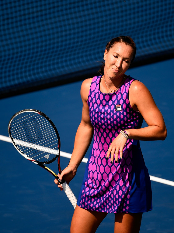 . NEW YORK, NY - AUGUST 25:   Jelena Jankovic of Serbia reacts against Bojana Jovanovski of Serbia on Day One of the 2014 US Open at the USTA Billie Jean King National Tennis Center on August 25, 2014  in the Flushing neighborhood of the Queens borough of New York City.  (Photo by Alex Goodlett/Getty Images)