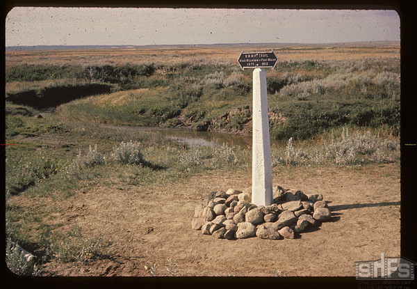 NWMP Trail marker - Wood River Crossing. McCord. 07/23/1962