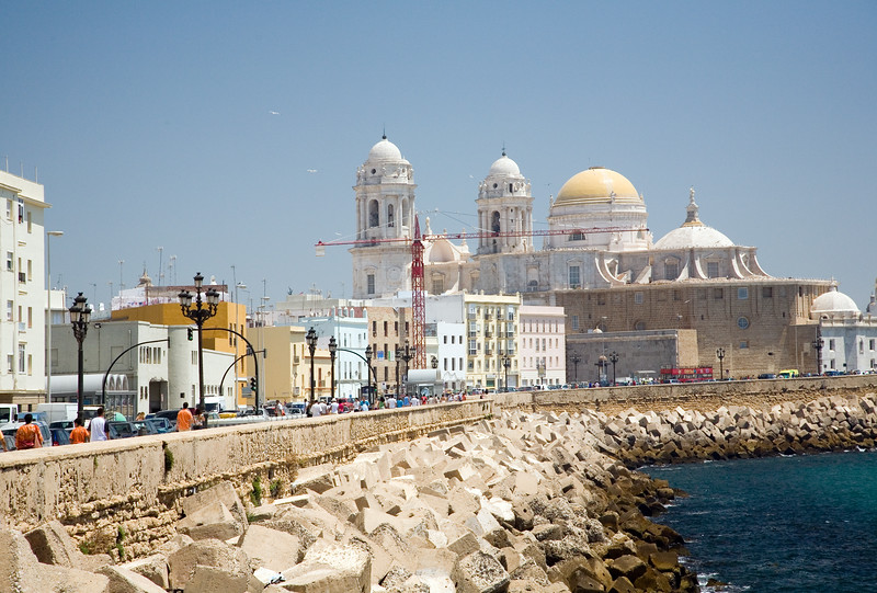View of Campo del Sur, the southern seafront of Cadiz. The superb baroque cathedral on the background.