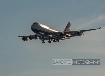 British Airways 747-400 Arriving 4R at BOS.