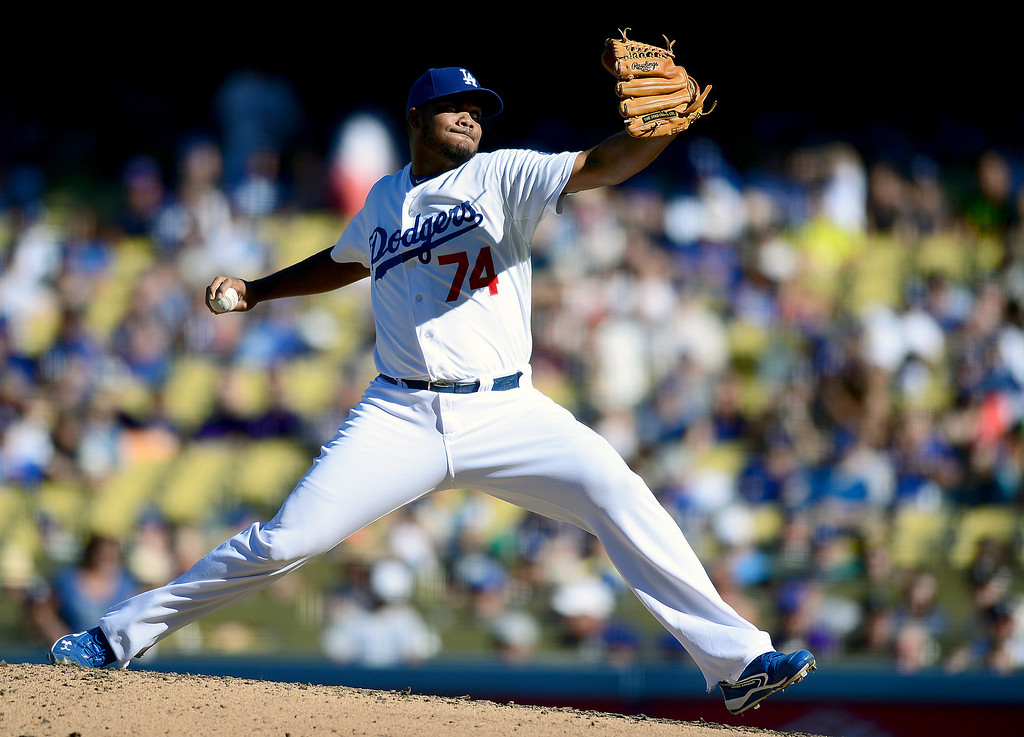 . Dodgers\' Kenley Jansen #74 pitches to the Rockies as the Rockies defeat the Dodgers 2-1 at Dodger Stadium during their final game of the regular season Sunday, September 29, 2013. (Photo by Sarah Reingewirtz/Pasadena Star-News)