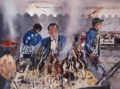 Gabrielle Moulding - Fire, Fish and Smoke - Outdoor Market, Toyama