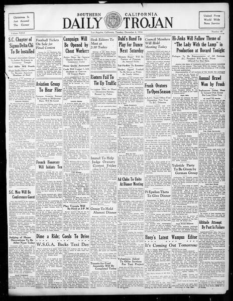 Daily Trojan, Vol. 26, No. 49, December 04, 1934