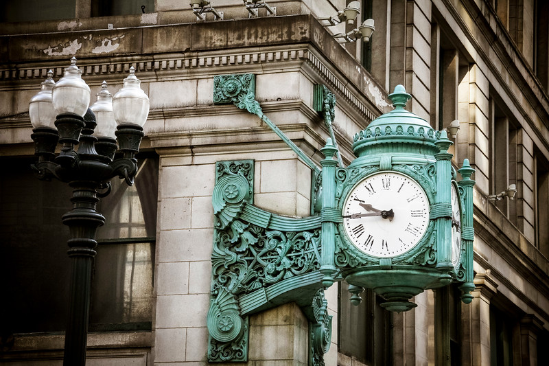The famous clock at Marshall Fields, now Macy's department store
