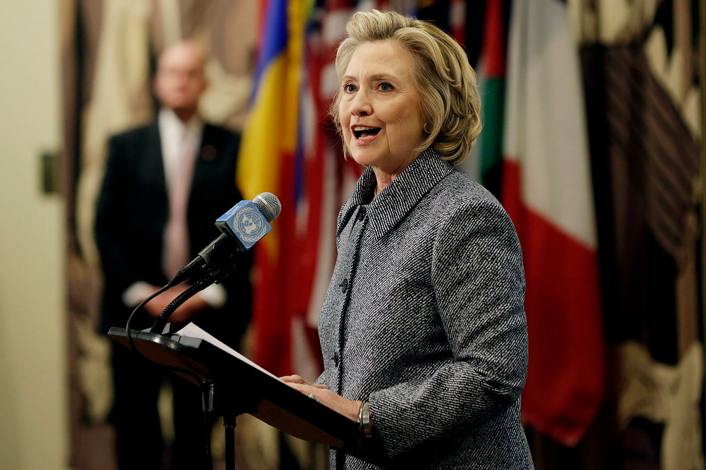 """. Hillary Rodham Clinton answers questions at a news conference at the United Nations, Tuesday, March 10, 2015.  Clinton conceded Tuesday that she should have used a government email to conduct business as secretary of state, saying her decision was simply a matter of \""""convenience.\""""  (AP Photo/Richard Drew)"""