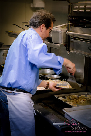 Chef Bob Bates preparing dishes for Holoholo General Store Spring Harvest Dinner at Livestock Tavern. © 2015 Sugar + Shake