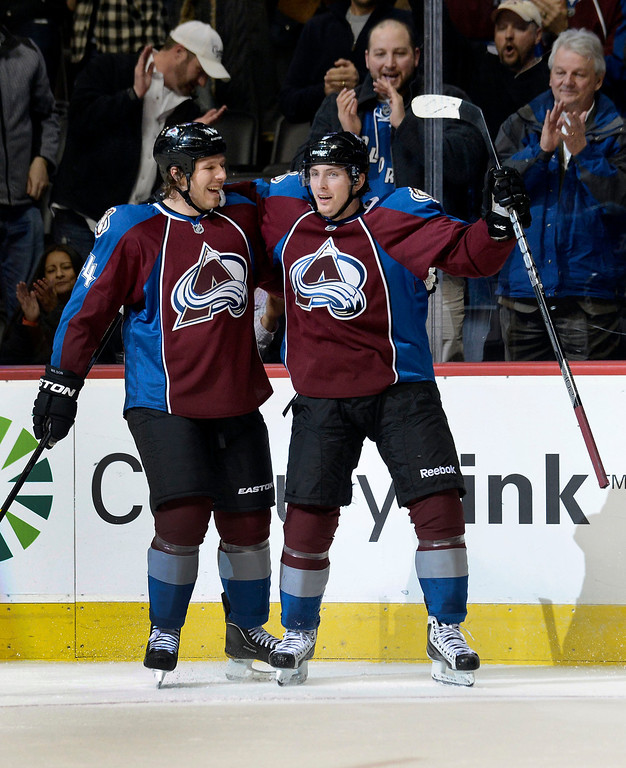 . DENVER, CO. - JANUARY 24: Colorado Avalanche center Matt Duchene (9) celebrates his first period goal with teammate Colorado Avalanche defenseman Ryan Wilson (44) January 24, 2013 at Pepsi Center.  The Colorado Avalanche take on the Columbus Blue Jackets  (Photo By John Leyba / The Denver Post)