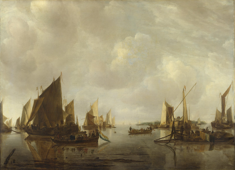 A River Scene with Dutch Vessels Becalmed