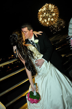 Bride and Groom Fireworks Photos