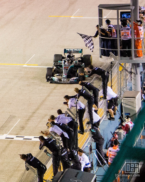Lewis Hamilton winning first place (Mercedes AMG Petronas Motors