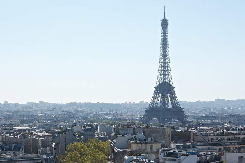 A view of the Eiffel Tower from the top of Arc de Triomphe