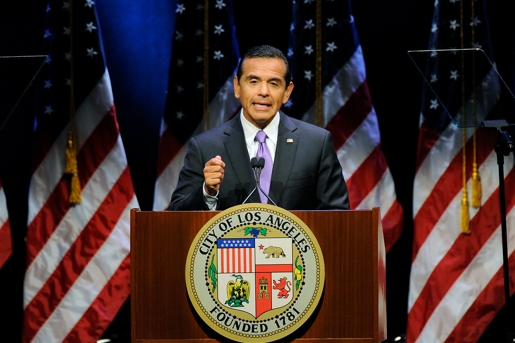 . FILE - Los Angeles Mayor Antonio Villaraigosa delivers his State of the City address at UCLA, Tuesday, April 9, 2013.  The former L.A. mayor says he is seriously considering a run for the Senate seat Barbara Boxer will vacate.  (Michael Owen Baker/Los Angeles Daily News)