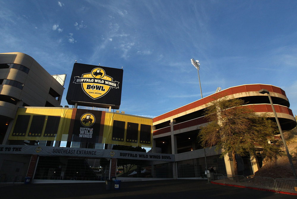 Description of . General view outside of Sun Devil Stadium before the Buffalo Wild Wings Bowl between the TCU Horned Frogs and the Michigan State Spartans on December 29, 2012 in Tempe, Arizona.  (Photo by Christian Petersen/Getty Images)