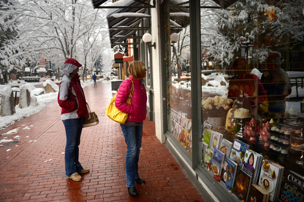 . BOULDER, CO. - APRIL 23: 17 year old Chloe and her mother Alison Roberts of New Hampshire window shopping on Pearl Street on the last day of their stay in Boulder April 23, 2013 Boulder, Colorado. (Photo By Joe Amon/The Denver Post)