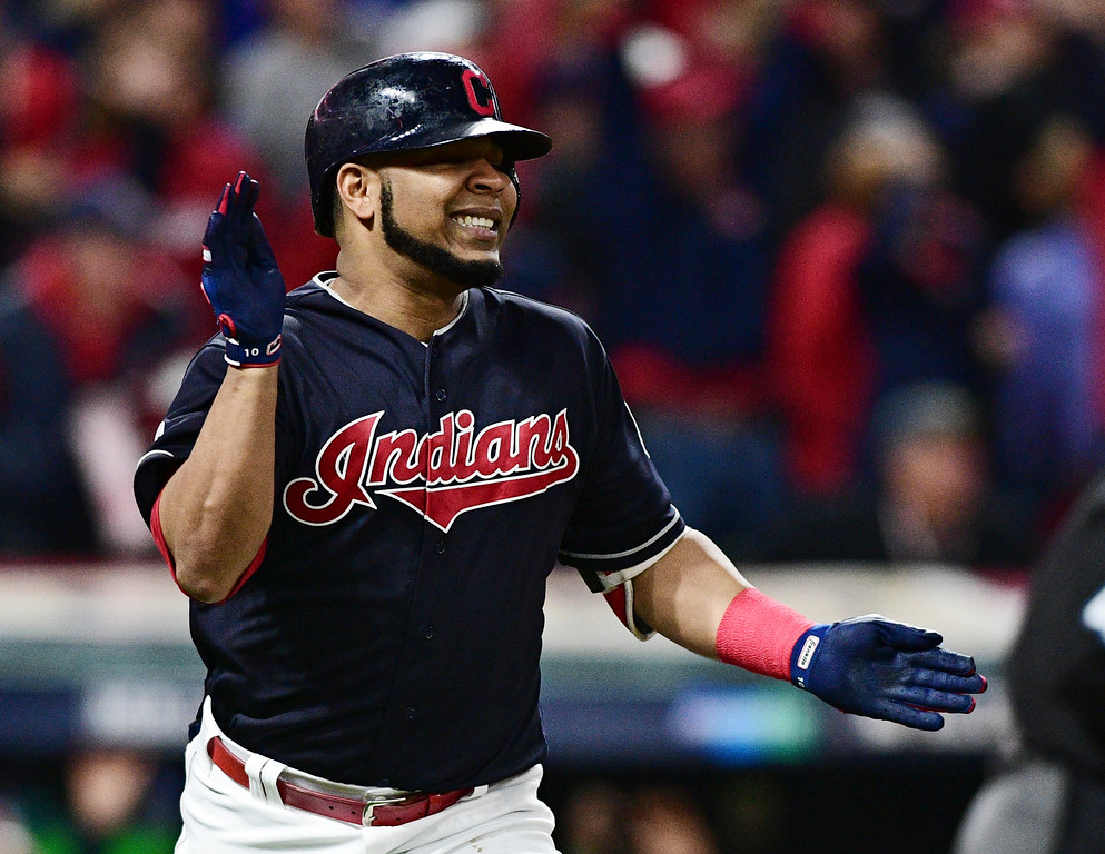 . Cleveland Indians\' Edwin Encarnacion reacts after flying out in the sixth inning of Game 5 of baseball\'s American League Division Series against the New York Yankees, Wednesday, Oct. 11, 2017, in Cleveland. (AP Photo/David Dermer)