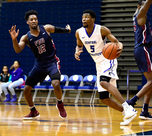 3/2/2019 Mike Orazzi | Staff CCSU's Chris Williams (5) during Saturday's Mens basketball game with Fairleigh Dickinson in New Britain.