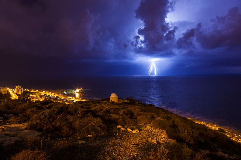 Fantastic moment of lightning over the Mediterranean