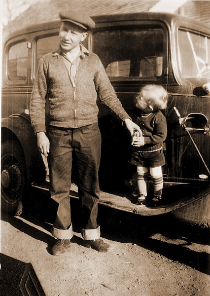 Father, son and running boardSepia