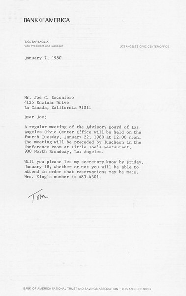 1980, Bank of America Letter