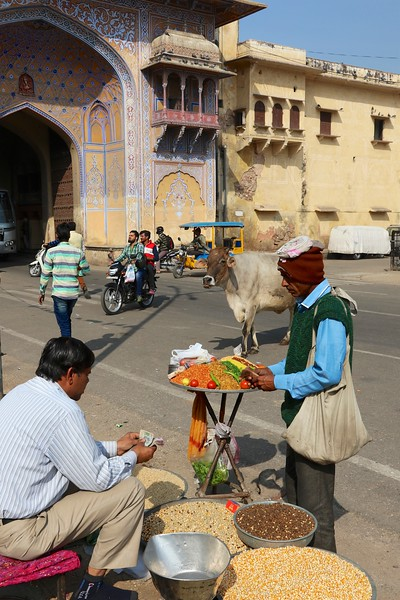 Street scene outside the gate of the City Palace - Jaipur