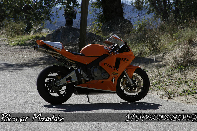 A KTM motorcycle on a turnout on palomar mountain.