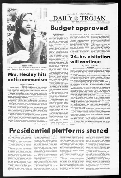 Daily Trojan, Vol. 62, No. 105, April 16, 1971