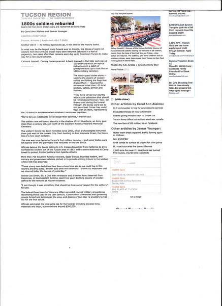 ARIZONA BUFFALO SOLDIERS, MESA, AZ...1 Buffalo Soldier reburied w/add'l 56 soldiers.Historical Soldiers Relocation, Sierra Vista, AZ 1860-1880. Greater Southern Arizona. Buffalo Soldiers of the Arizona Territory. May 16, 2009