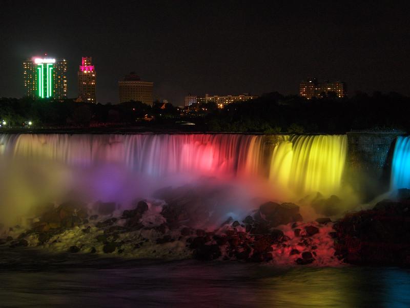 Niagara Falls American Falls illuminated at night