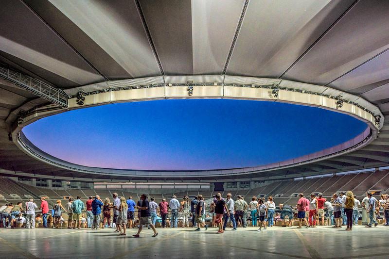People inside La Cartuja Stadium, Seville, Spain