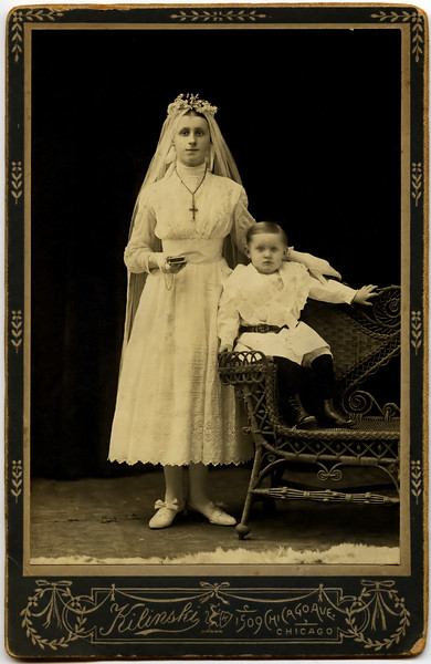 Grandma Z and her brother Max. I assume that this was taken at her first holy communion, but I'll have to check with mom.
