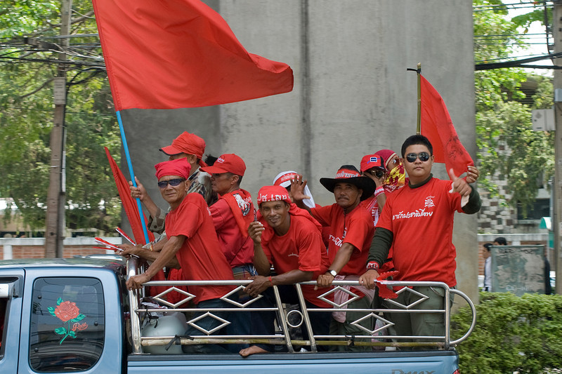 Group of men on protest in Thailand