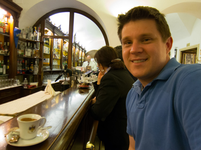 An espresso in the back bar at Caffè Florian - supposedly the oldest coffee house in continuous operation (since 1720).