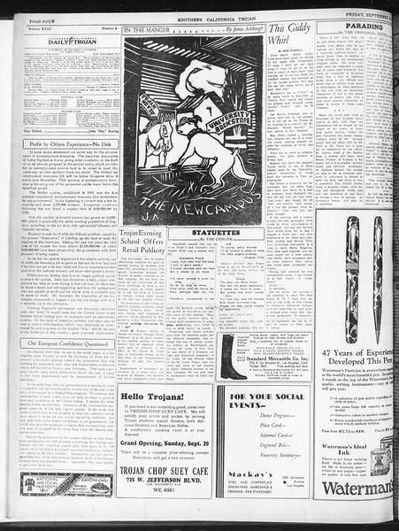 Daily Trojan, Vol. 23, No. 6, September 18, 1931