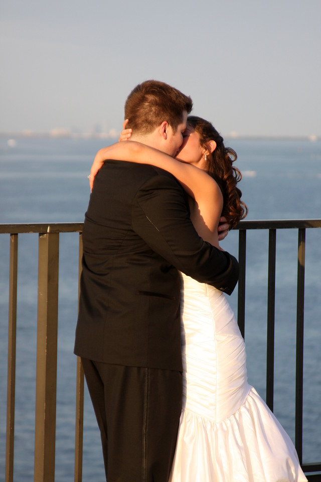 Kissing high above water on top of the St Pete Pier.