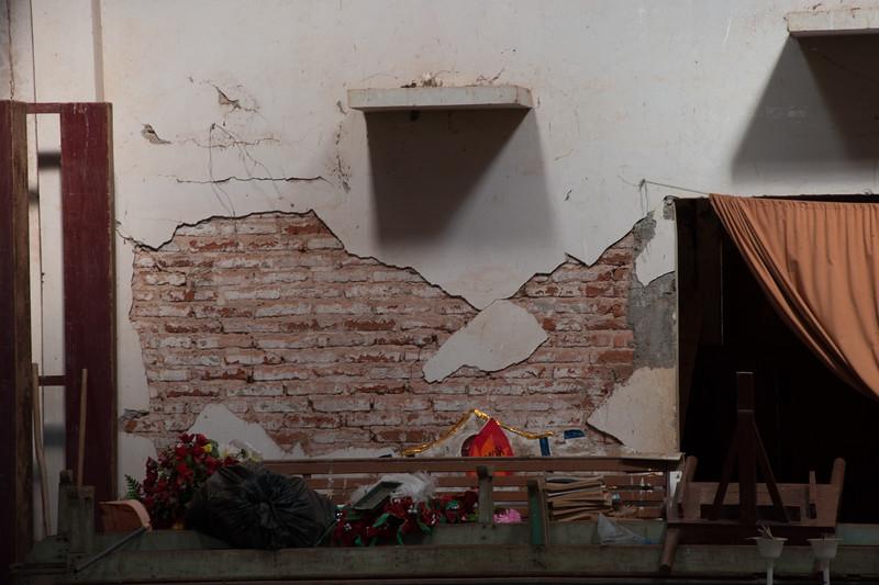 Peeking in through a broken window Santa Ana community church