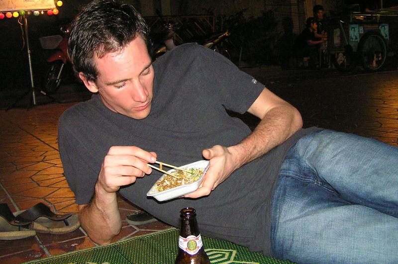 Stuart eating street food