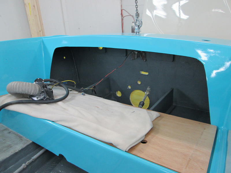 New paint applied to the area behind the rear seat.