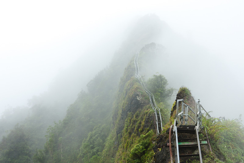 200335 | Stairway to Heaven hike on Oahu in Hawaii on a misty morning.