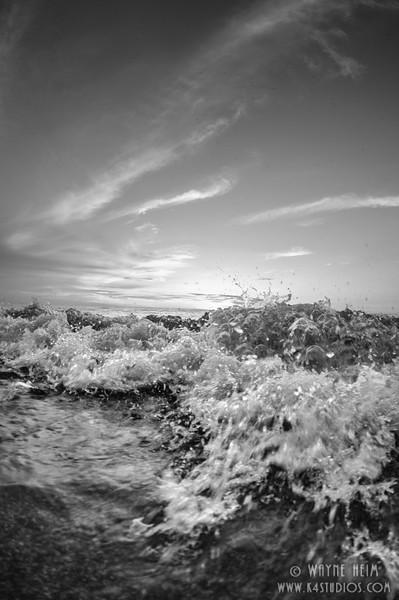 Bubbling Wave - Black & White Photography by Wayne Heim