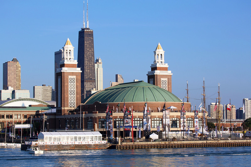 ... and come around the Festival Hall at the tip of Navy Pier.